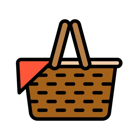 Picnic Basket vector, Spring season filled style icon editable stroke Standard-Bild - 124785094