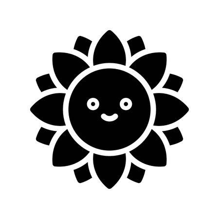 Sunflower vector illustration, Isolated Spring season solid icon Standard-Bild - 124785096