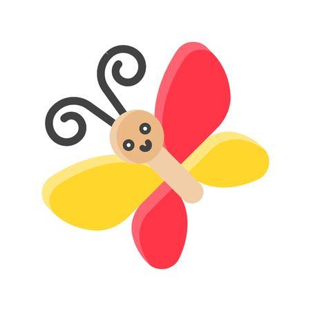 Butterfly vector illustration, Isolated Spring season flat icon Standard-Bild - 124785101