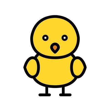 Chick vector, Spring season filled style icon editable stroke Standard-Bild - 124785119