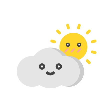 Cloud with sun vector illustration, Isolated Spring season flat icon