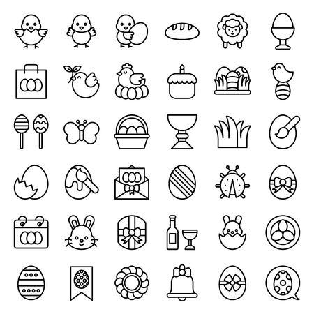 Easter vector illustration set, line style icon editable stroke