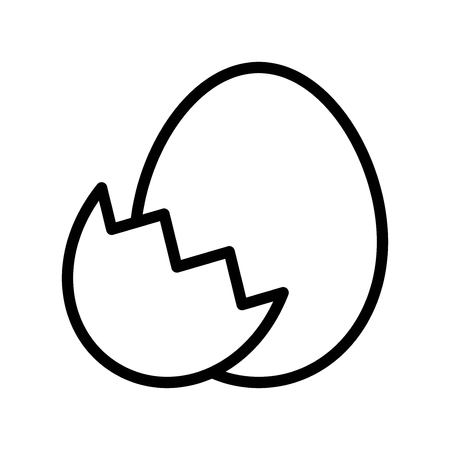 Egg with eggshell vector, Easter line style icon editable stroke