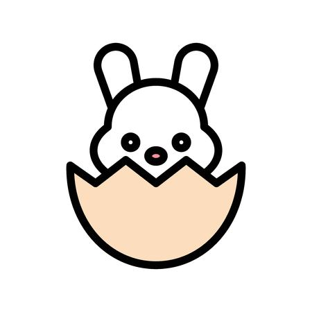 Bunny in eggshell vector, Easter filled style icon editable stroke