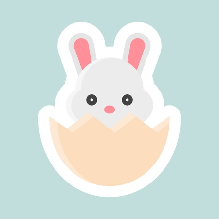 Bunny in eggshell vector, Easter and spring flat sticker icon
