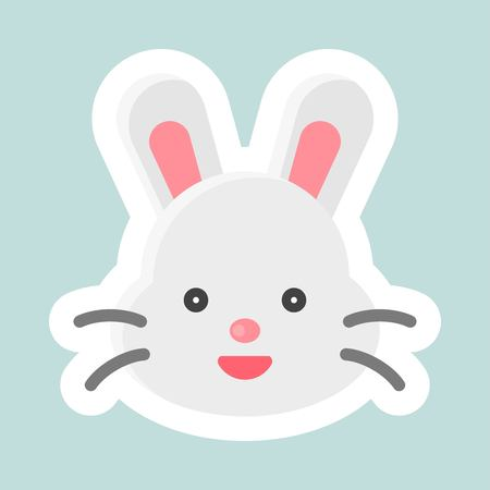 Rabbit vector, Easter and spring flat sticker icon