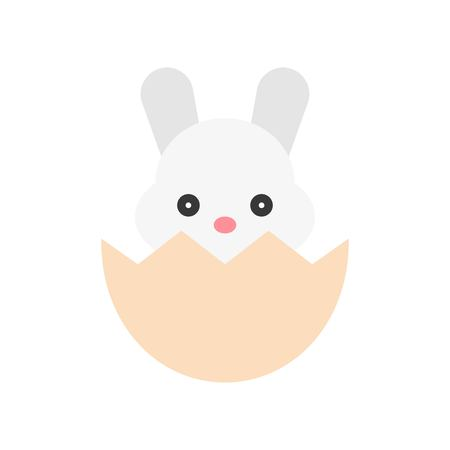 Bunny in eggshell vector, Isolated Easter flat design icon