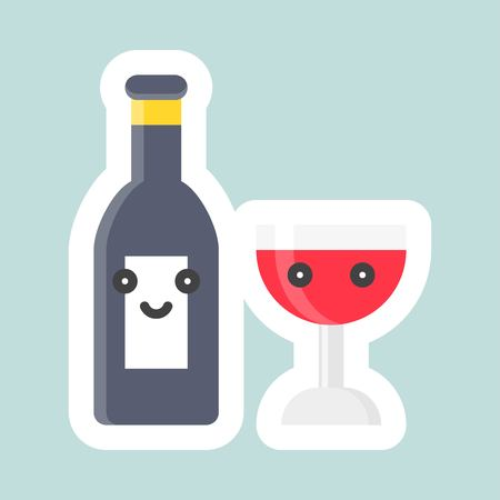 Wine vector, Easter and spring flat sticker icon
