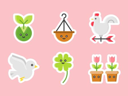 Easter and spring flat sticker icon set, vector illustration