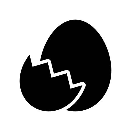 Egg with eggshell vector, Isolated Easter solid design icon Ilustração