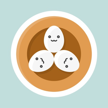 Eggs in bird nest vector, Easter and spring flat sticker icon