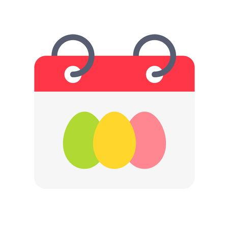 Calendar vector, Isolated Easter flat design icon