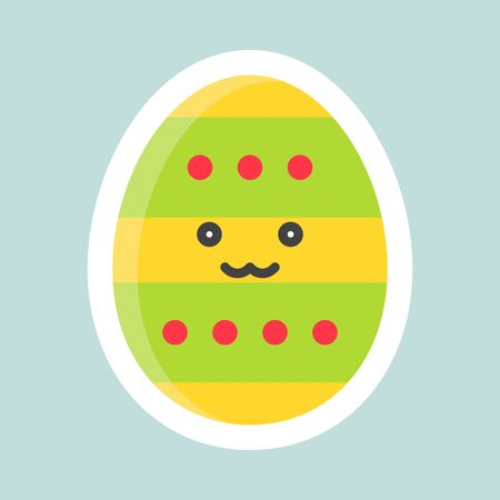 Easter egg vector, Easter and spring flat sticker icon  イラスト・ベクター素材