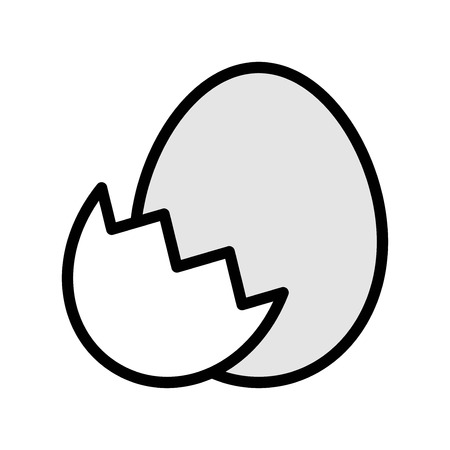Egg with eggshell vector, Easter filled style icon editable stroke