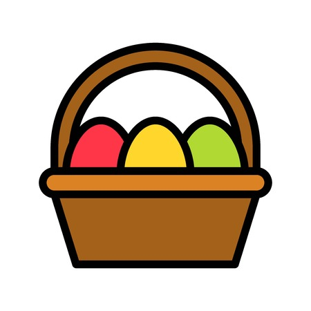 Easter egg basket vector, Easter filled style icon editable stroke