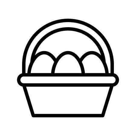 Easter egg basket vector, Easter line style icon editable stroke