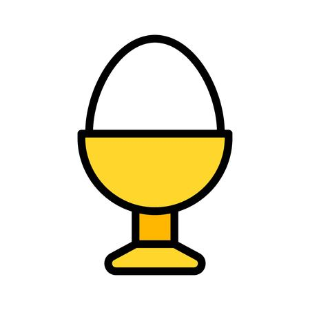 Boiled egg in egg cup vector, Easter filled style icon editable stroke
