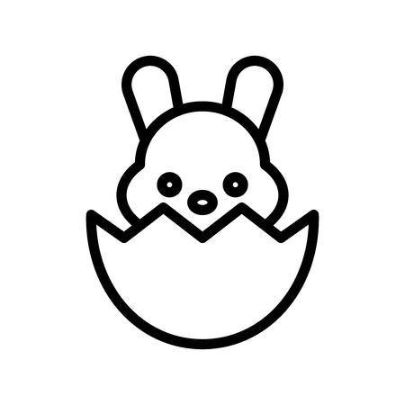 Bunny in eggshell vector, Easter line style icon editable stroke Ilustração