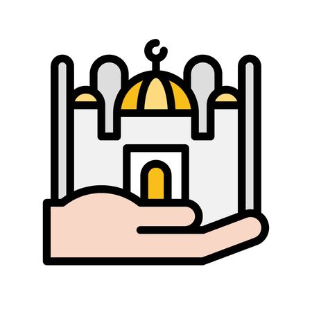 Mosque on hand vector illustration, Ramadan related filled style icon Illustration