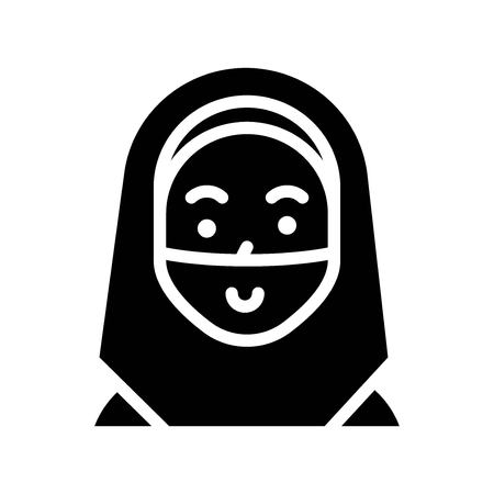 Muslim woman vector illustration, Ramadan related solid style icon