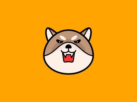 Shiba Inu head vector illustration on orange background