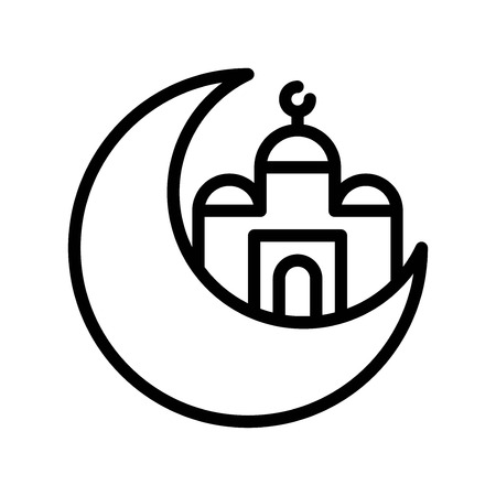 Mosque with Moon vector illustration, Ramadan related line style icon
