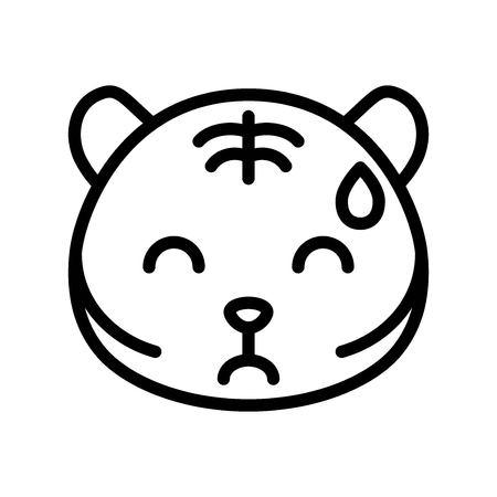 Cute Tiger emoticon, line design vector illustration Illustration