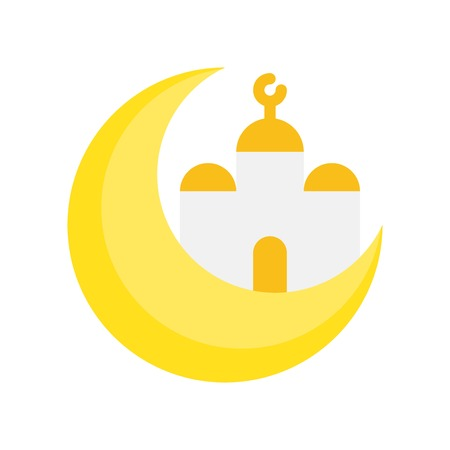 Mosque with Moon vector illustration, Ramadan related flat style icon