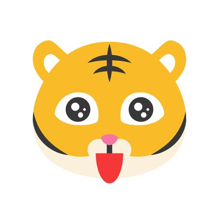 Cute Tiger emoticon, flat design vector illustration
