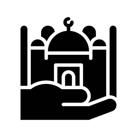 Mosque on hand vector illustration, Ramadan related solid style icon