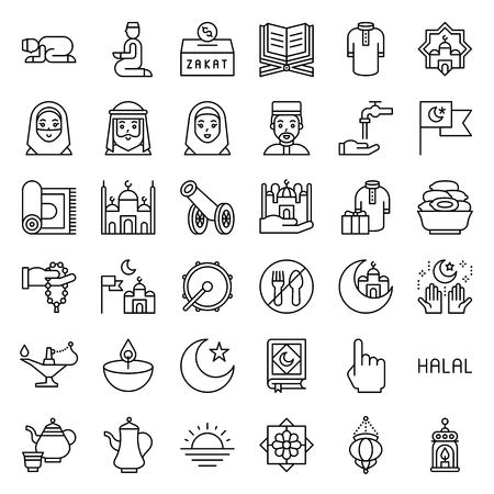 Ramadan related vector icon set, line design