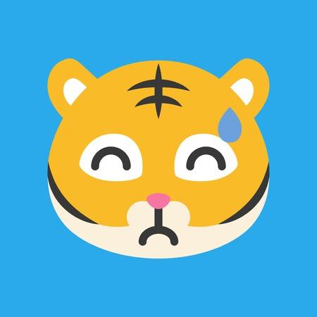 Cute Tiger emoticon, flat design vector illustration