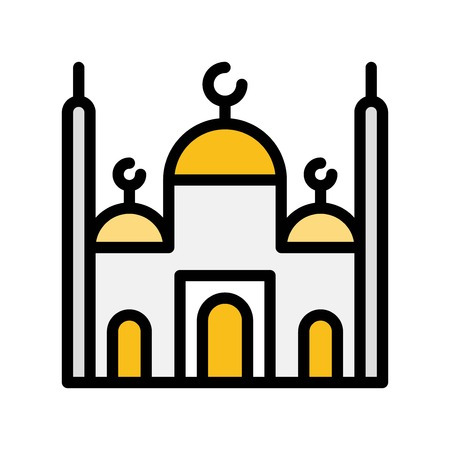 Mosque vector illustration, Ramadan related filled style icon