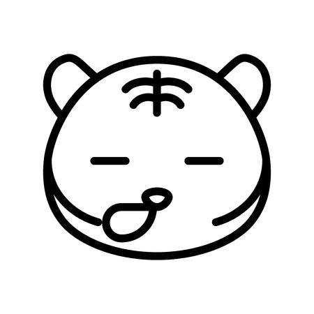 Cute Tiger emoticon, line design vector illustration Иллюстрация