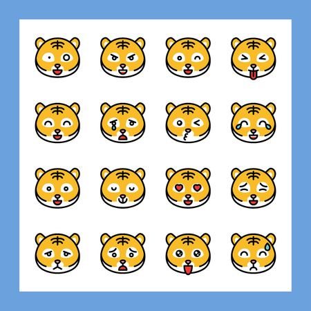 Tiger emoticon vector set, filled design editable stroke Illustration