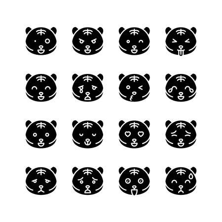 Tiger emoticon vector illustration set, solid design 일러스트