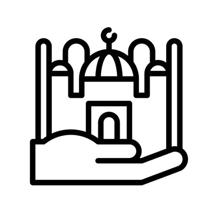 Mosque on hand vector illustration, Ramadan related line style icon
