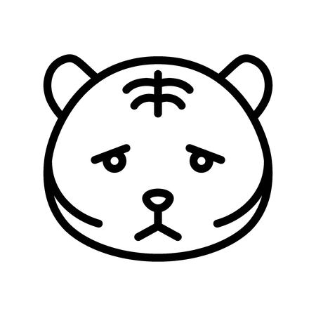 Cute Tiger emoticon, line design vector illustration Illustration