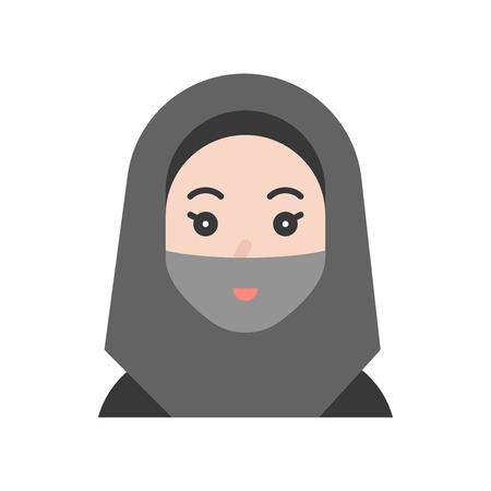 Muslim woman vector illustration, Ramadan related flat style icon