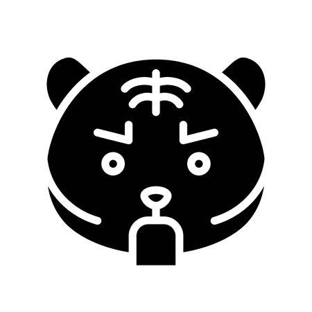 Cute Tiger emoticon, solid design vector illustration