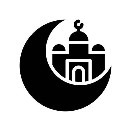 Mosque with Moon vector illustration, Ramadan related solid style icon Illustration