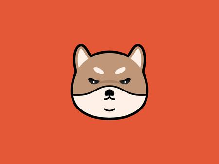 Shiba Inu head vector illustration on red background