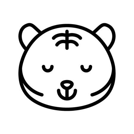 Cute Tiger emoticon, line design vector illustration 일러스트