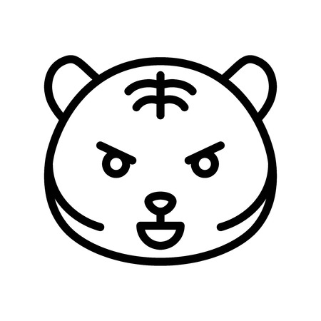 Cute Tiger emoticon, line design vector illustration Ilustração