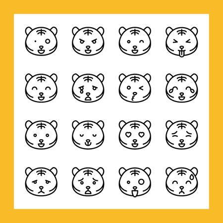 Tiger emoticon vector illustration set, line design