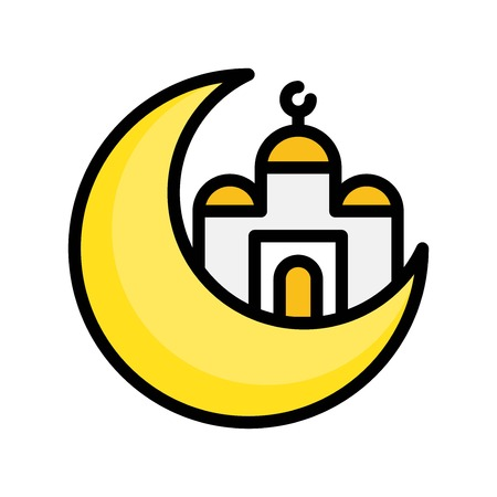 Mosque with Moon vector illustration, Ramadan related filled style icon