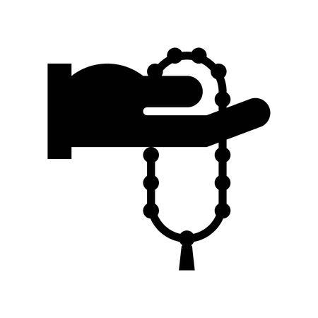Prayer beads vector illustration, Ramadan related solid style icon