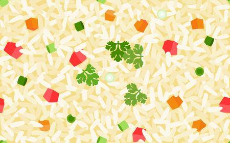 Patrón sin fisuras de arroz frito, Ilustración de vector de comida tailandesa Ilustración de vector