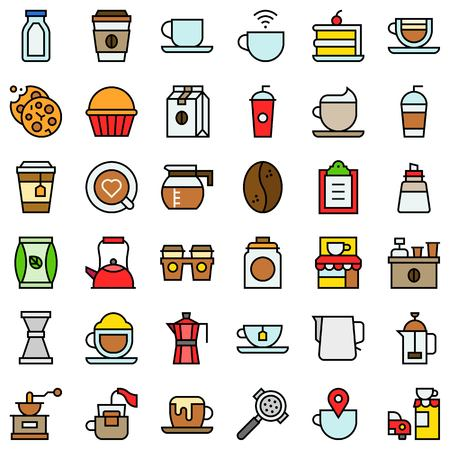 Coffee related vector icon set, filled design editable outline  イラスト・ベクター素材