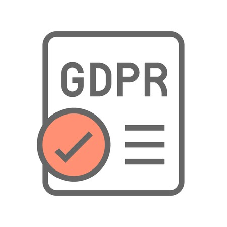 GDPR General Data Protection Regulation icon, filled style editable stroke